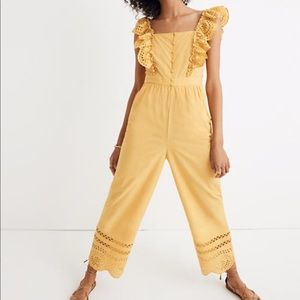 Madewell Eyelet Frilled-Strap Mustard Jumpsuit